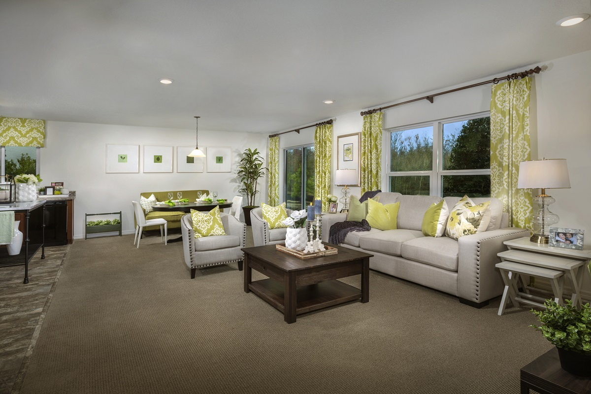 New Homes in Seffner, FL - Mirror Lake 1707 Great Room as modeled at Freedom Ridge