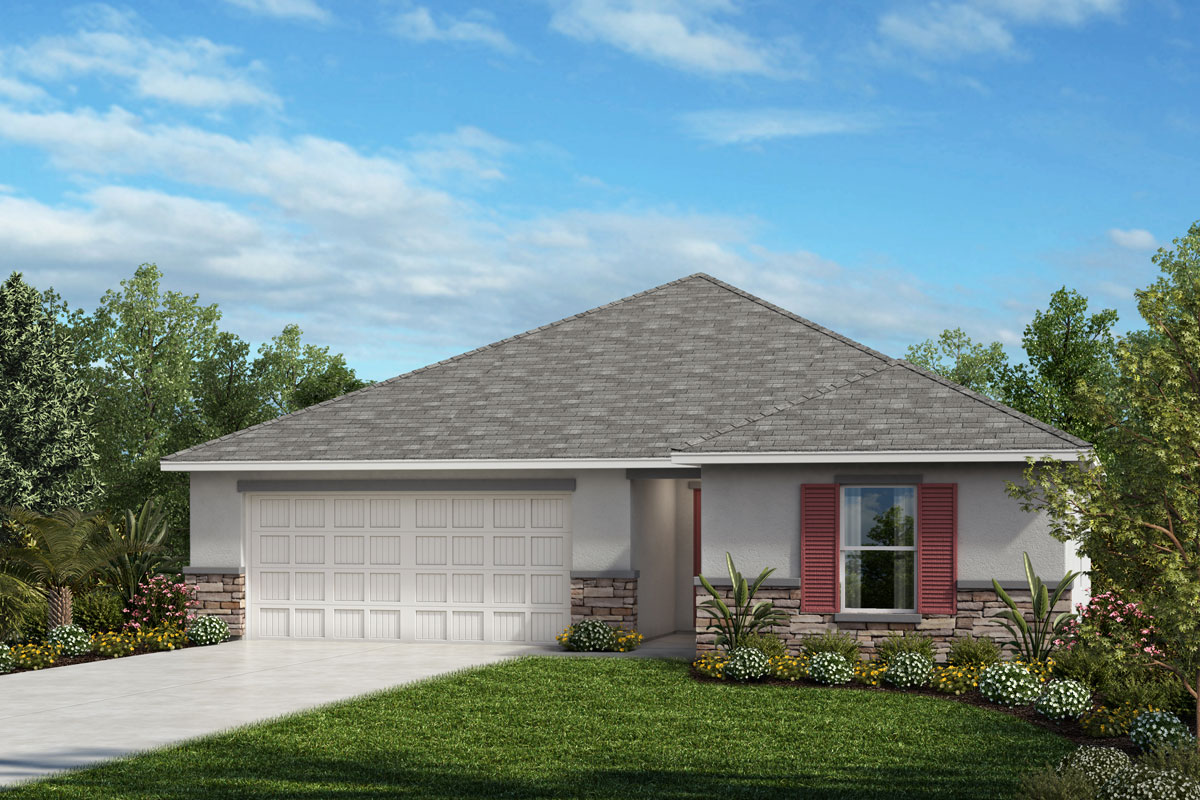 New Homes in Sarasota, FL - 1541 Exterior Elevation A w Stone
