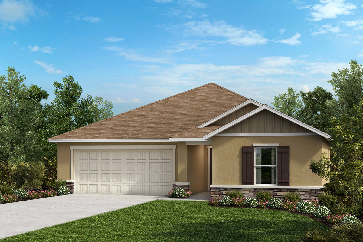 New Homes in Sarasota, FL - 1541 Exterior Elevation G w Stone