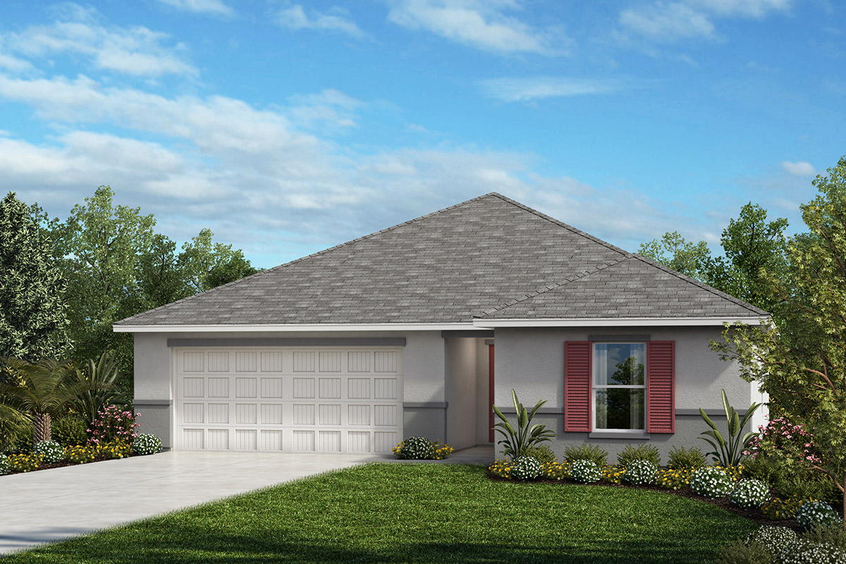 New Homes in Hudson, FL - Legends Pointe Plan 1541 Elevation A with Stone