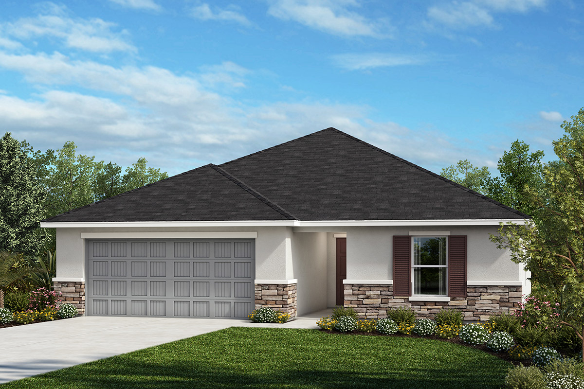 New Homes in Seffner, FL - 1707 Plan Elevation A with Stone