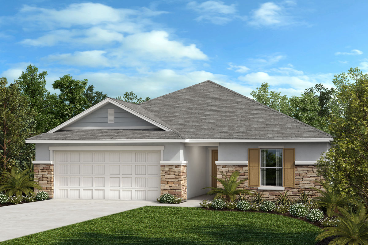 New Homes in Seffner, FL - 1707 Plan Elevation F with Stone