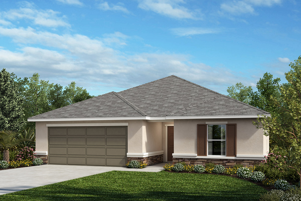 New Homes in Seffner, FL - Elevation A with optional stone