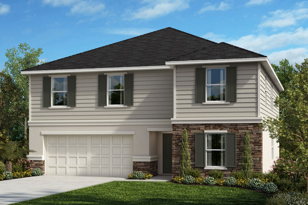 New Homes in Seffner, FL - 3016 Plan Elevation E with Stone
