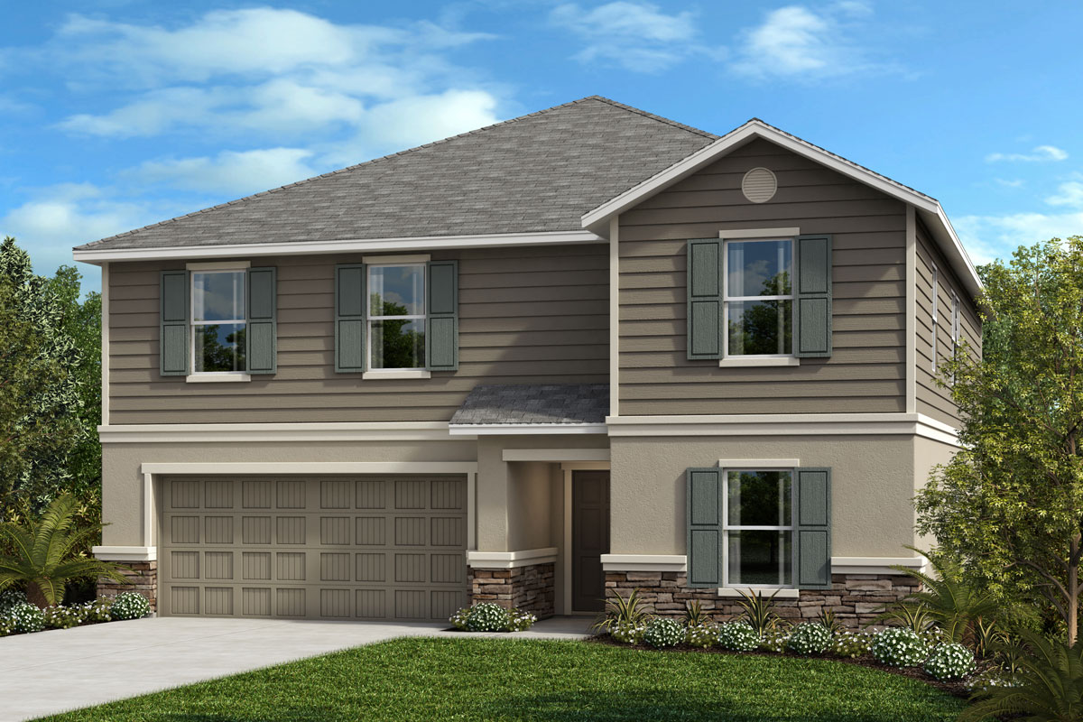 New Homes in Seffner, FL - Elevation F with optional stone
