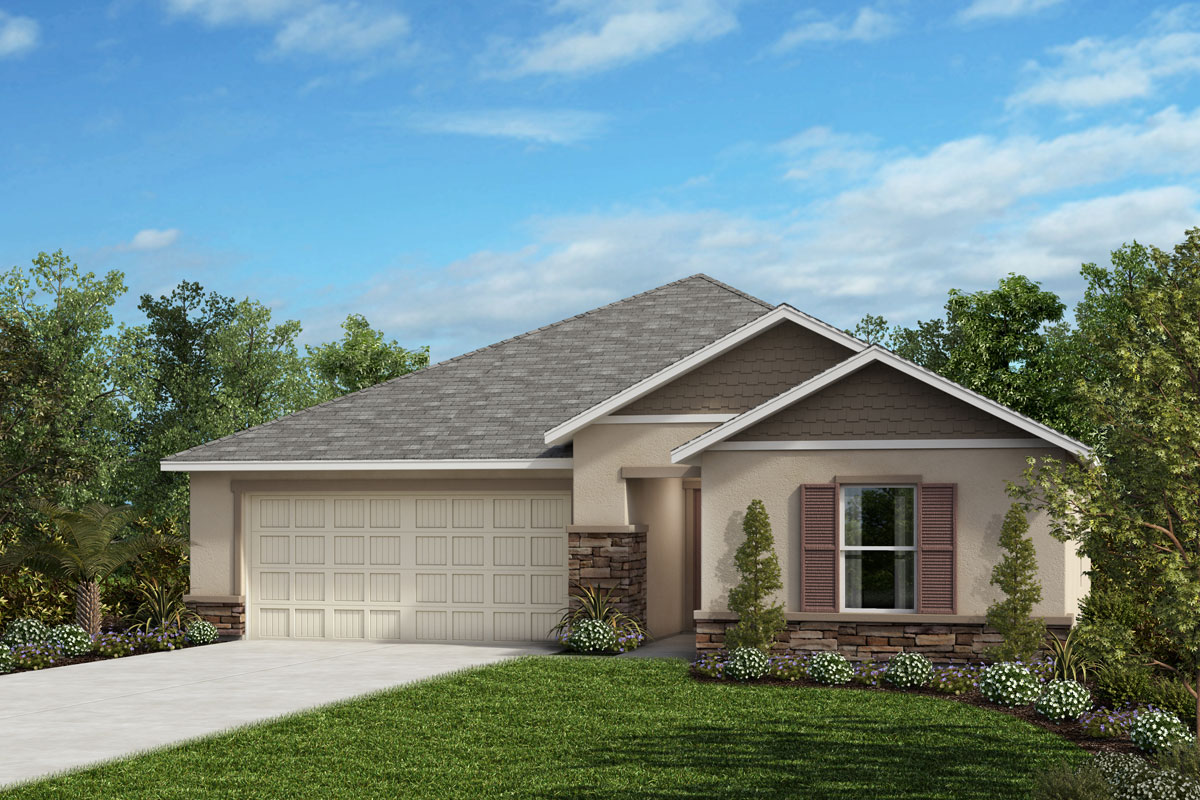 New Homes in Valrico, FL - 1541 Plan Elevation H with Stone