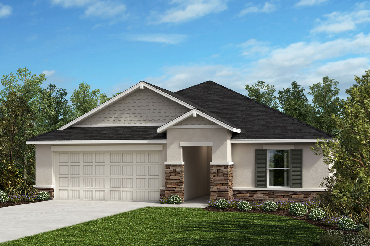 New Homes in Valrico, FL - 1707 Plan Elevation H with Stone