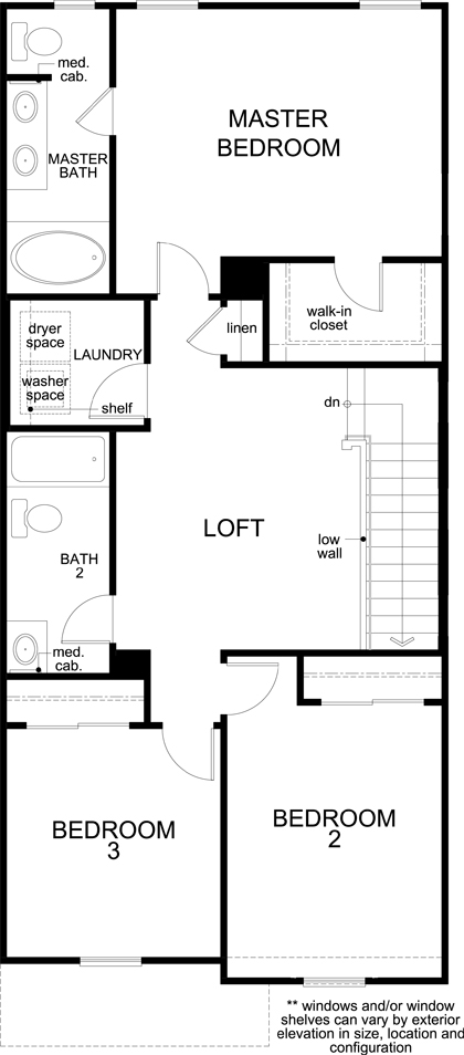New Homes in Las Vegas, NV - Plan 1713 Interior Unit, Second Floor