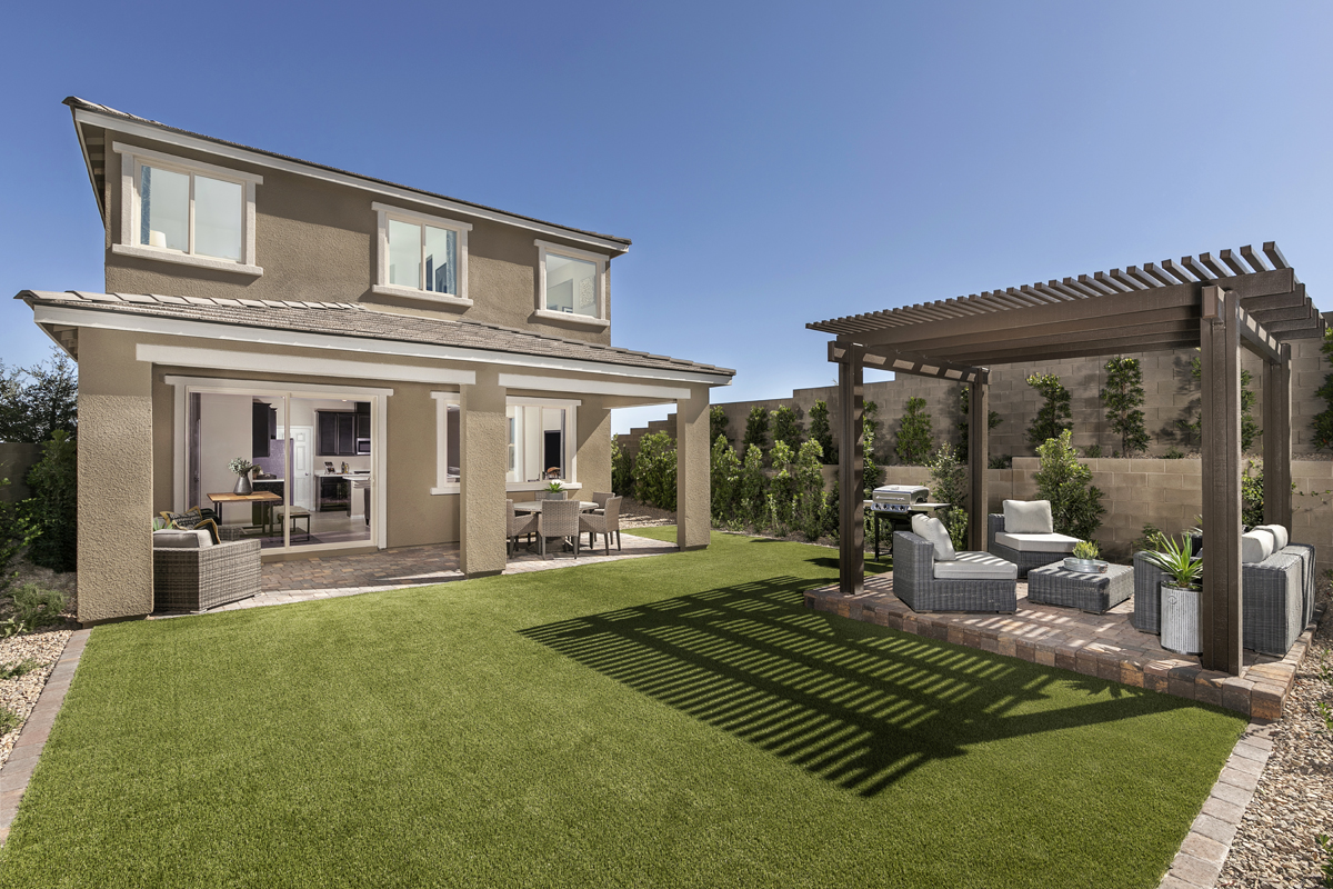 New Homes in Las Vegas, NV - Bristle Vale at Summerlin - Collection I Plan 1787 Backyard