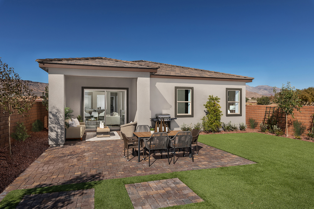 New Homes in Las Vegas, NV - Stonegate at Summerlin - Collection II Plan 1858-X Backyard