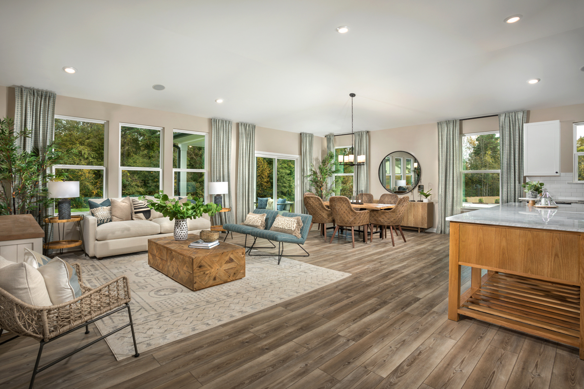 New Homes in Fuquay-Varina, NC - Highland Grove Plan 1910 Great Room as modeled at Retreat at Lake Michael
