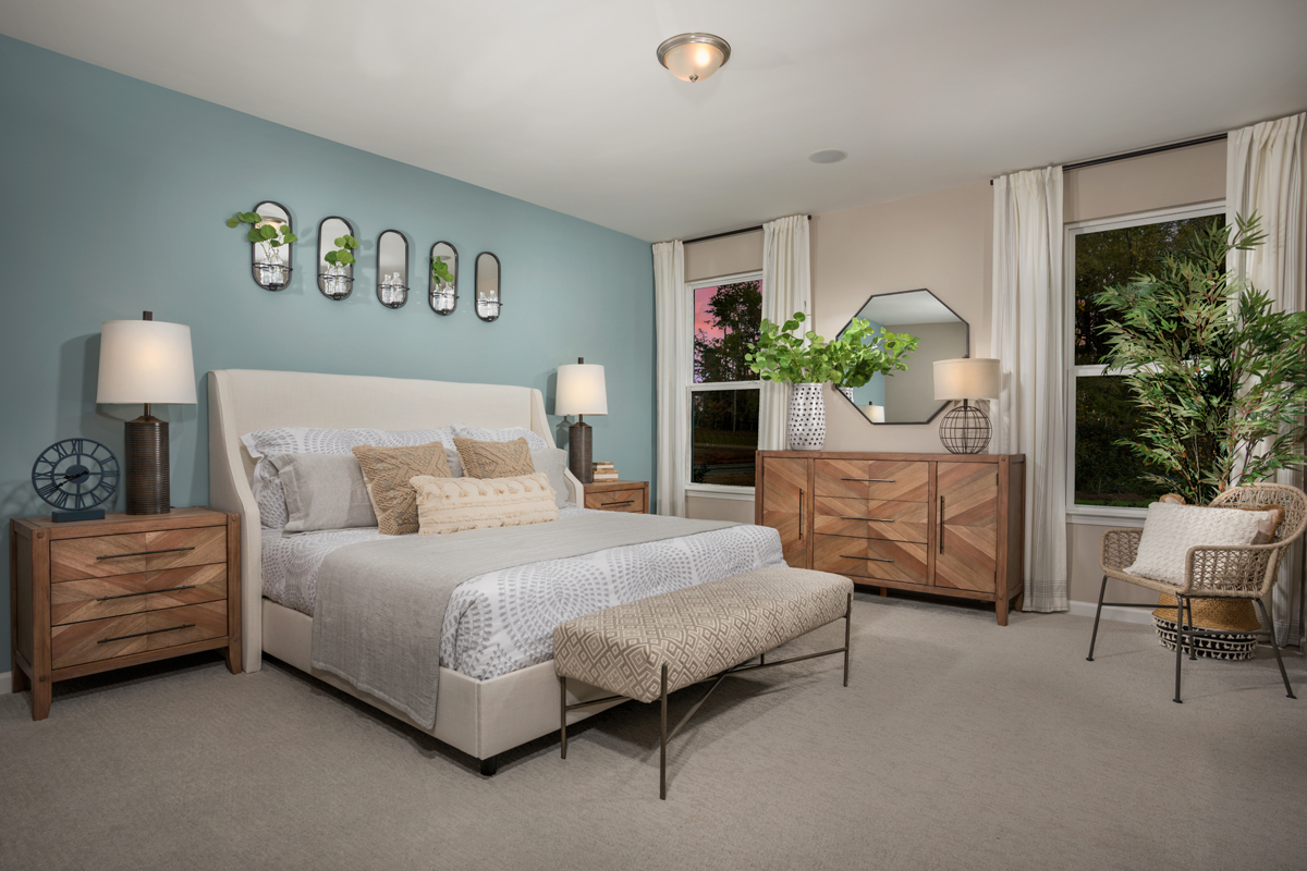 New Homes in Fuquay-Varina, NC - Highland Grove Plan 1910 Master Bedroom as modeled at Retreat at Lake Michael