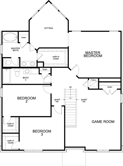 New Homes in Leander, TX - Plan A-2755, Second Floor
