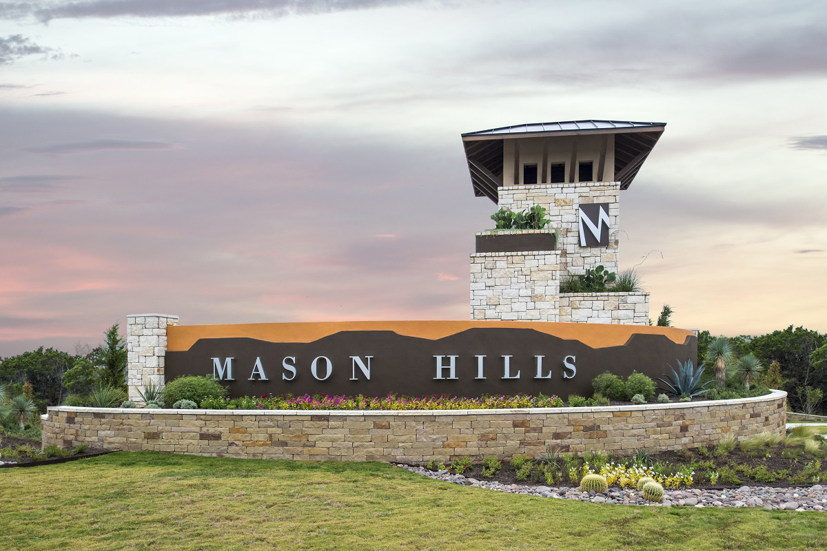 New Homes in Leander, TX - Mason Hills - The Lakes Hallmark Collection Mason Hills Community Entry