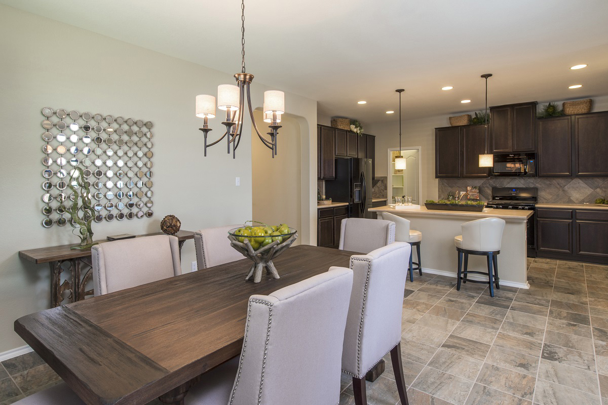 New Homes in Leander, TX - Mason Hills - The Lakes Classic Collection Plan A-1965 Dining Area and Kitchen