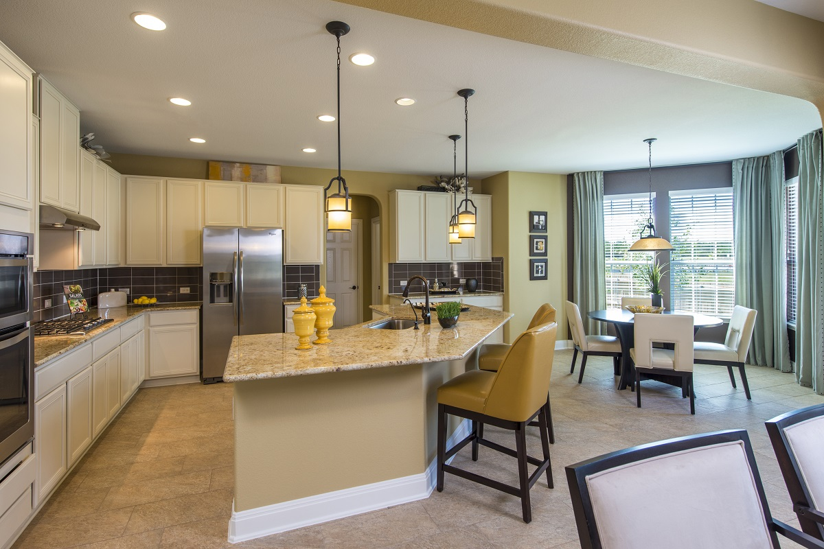 New Homes in Leander, TX - Mason Hills - The Lakes Classic Collection Plan A-2755 Kitchen and Breakfast Nook