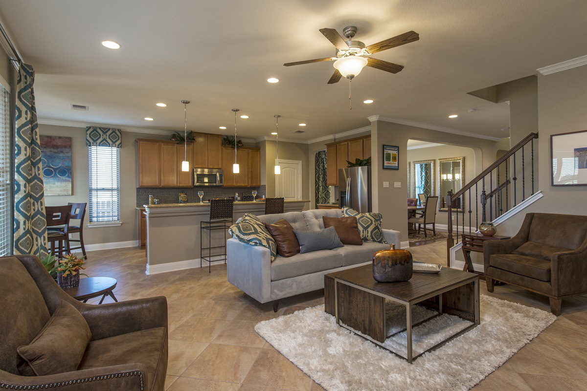 New Homes in Leander, TX - Mason Hills - The Lakes Classic Collection Plan A-3023 Living Room and Kitchen