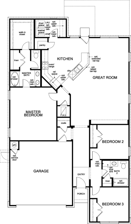 New Homes in Leander, TX - Plan A-1852, First Floor