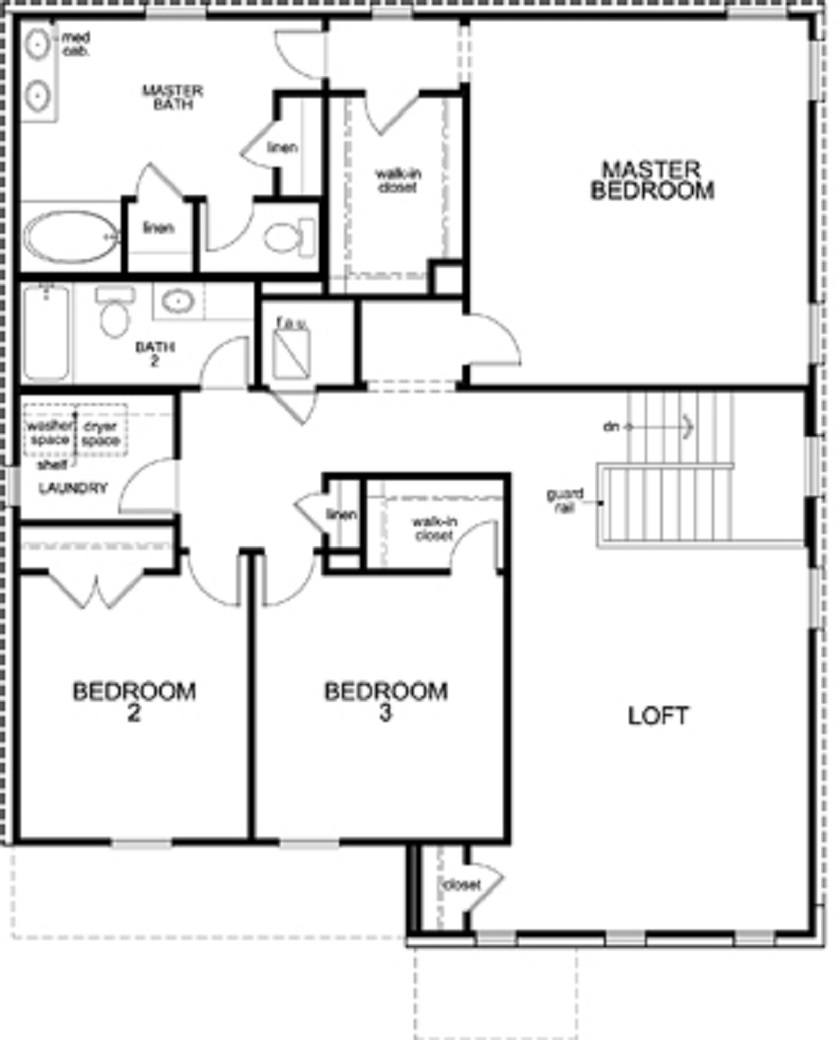 New Homes in Leander, TX - Plan A-2881, Second Floor