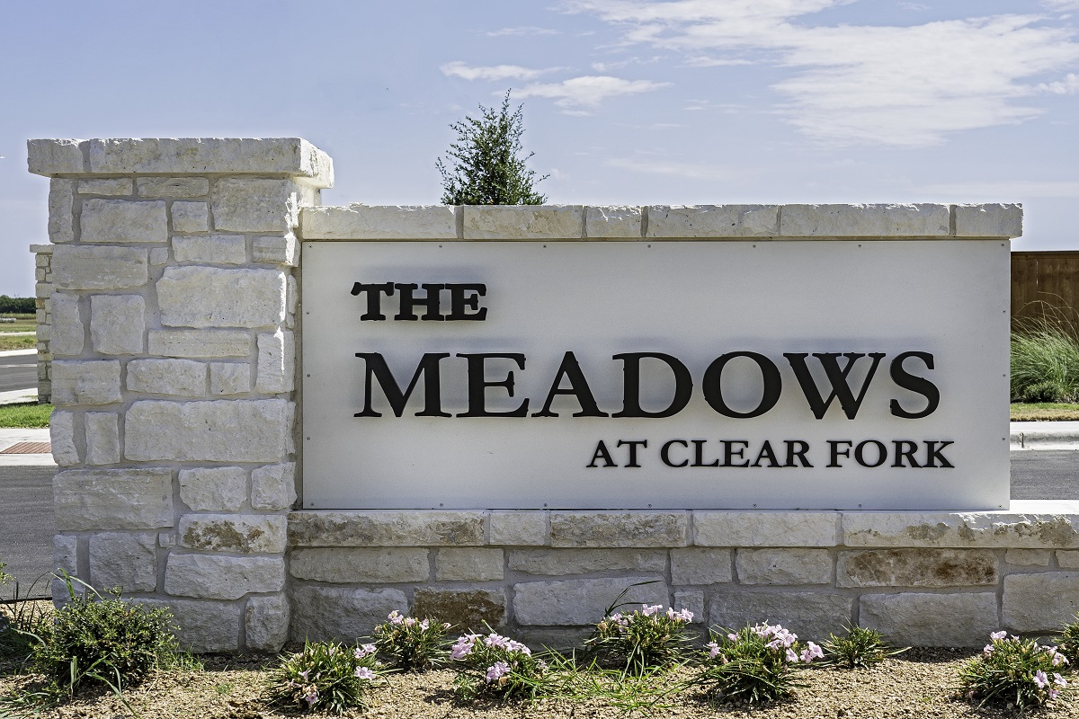 New Homes in Lockhart, TX - Meadows at Clearfork Entry Monument