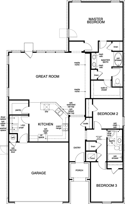 New Homes in Lockhart, TX - Plan A-1792, First Floor