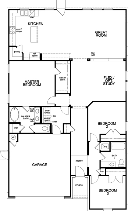 New Homes in Lockhart, TX - Plan 1996, First Floor