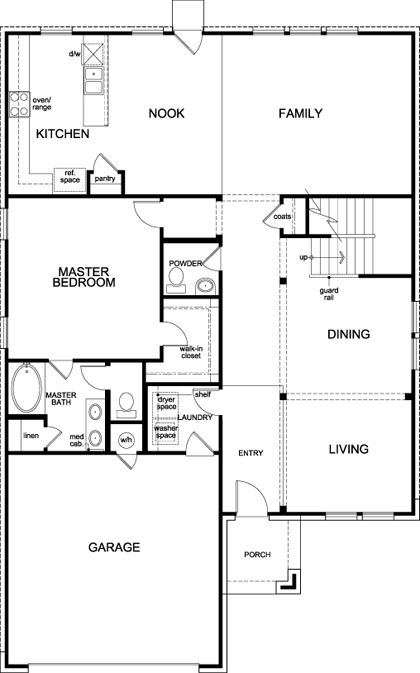 New Homes in Lockhart, TX - Plan A-2797, First Floor