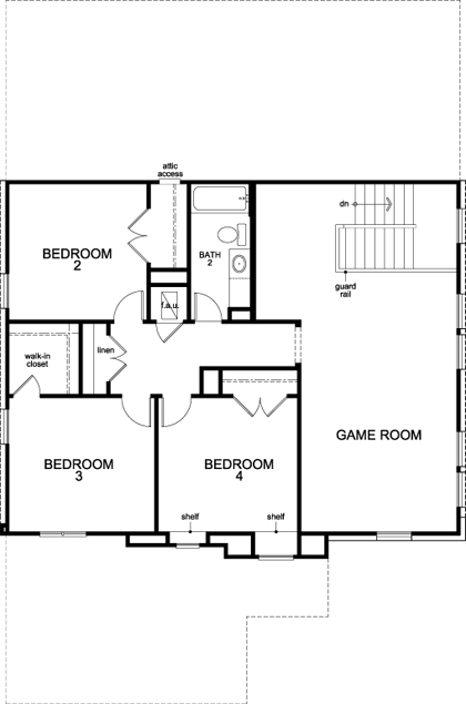 New Homes in Lockhart, TX - Plan A-2797, Second Floor