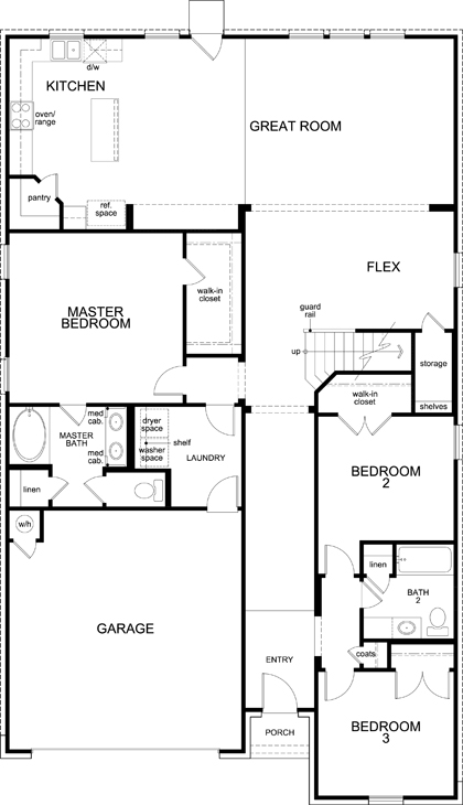 New Homes in Lockhart, TX - Plan A-2655, First Floor