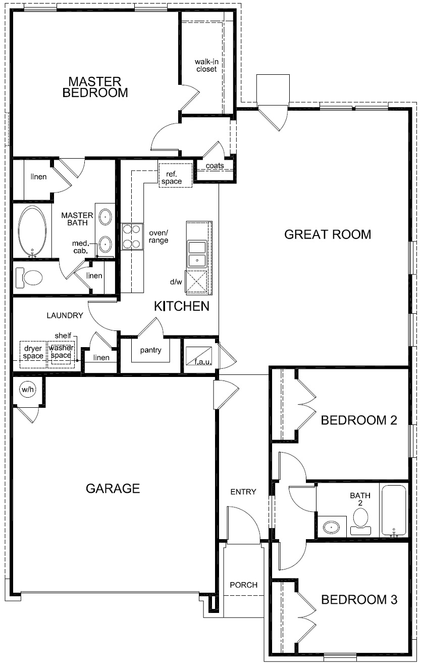 New Homes in Bastrop, TX - Plan A-1491, First Floor