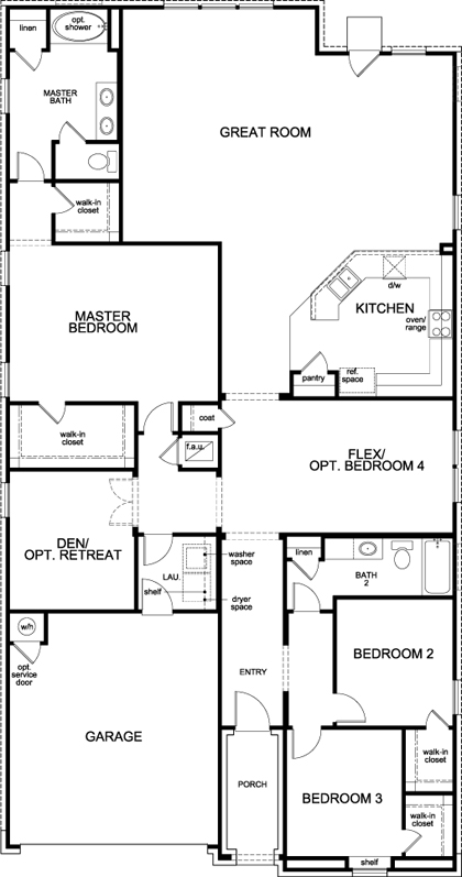 New Homes in Bastrop, TX - Plan A-2382, First Floor