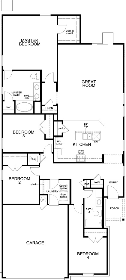 New Homes in Bastrop, TX - Plan E-1892, First Floor