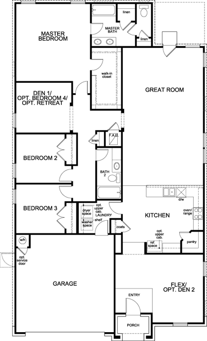 New Homes in Manor, TX - Plan A-2089, First Floor