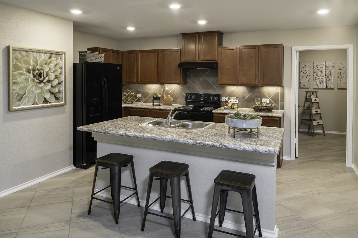 KB model home kitchen in Elgin, TX