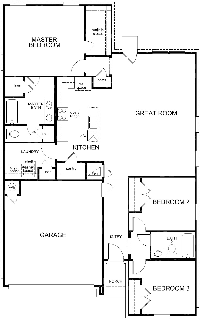 New Homes in Elgin, TX - Plan A-1491 Modeled, First Floor