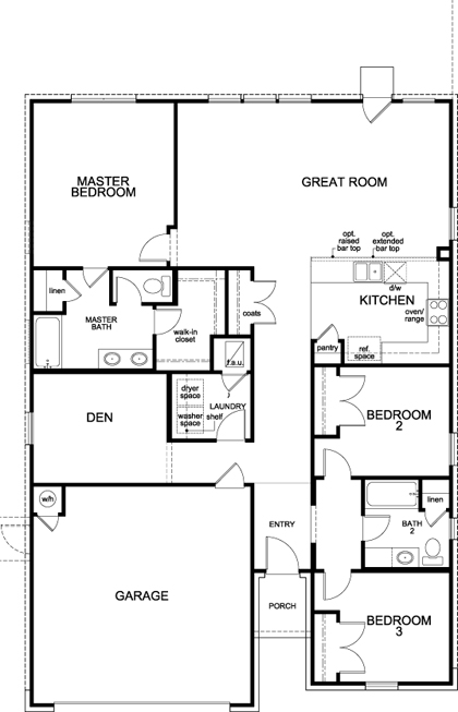 New Homes in Elgin, TX - Plan A-1675, First Floor