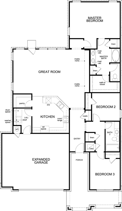 New Homes in Kyle, TX - Plan A-1792, First Floor