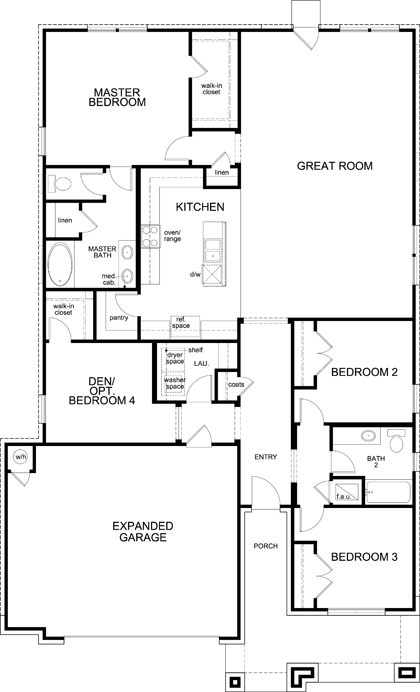 New Homes in Kyle, TX - Plan A-1965, First Floor