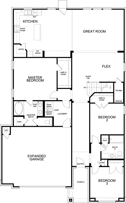 New Homes in Kyle, TX - Plan A-2655 Modeled, First Floor