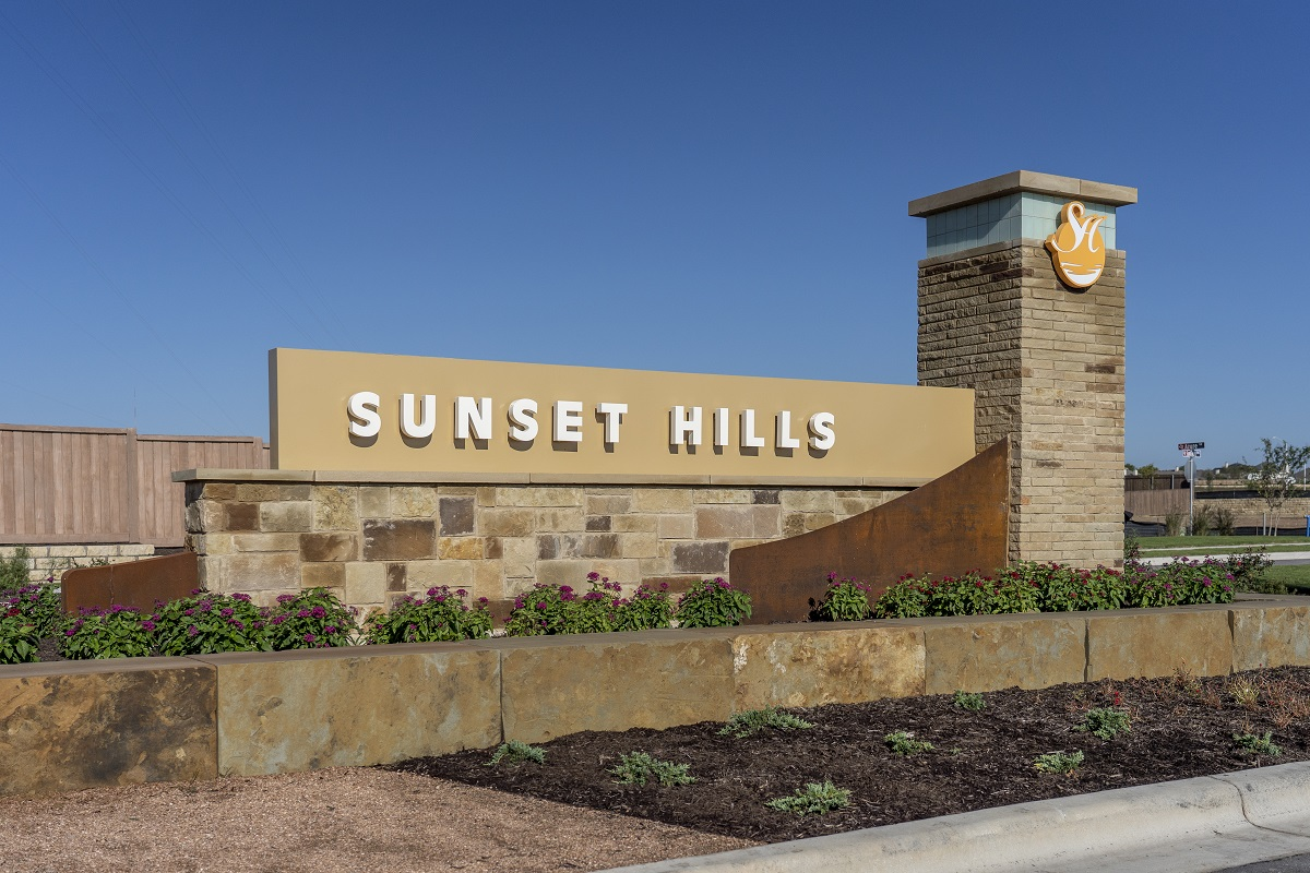 New Homes in Kyle, TX - Sunset Hills Entry Monument