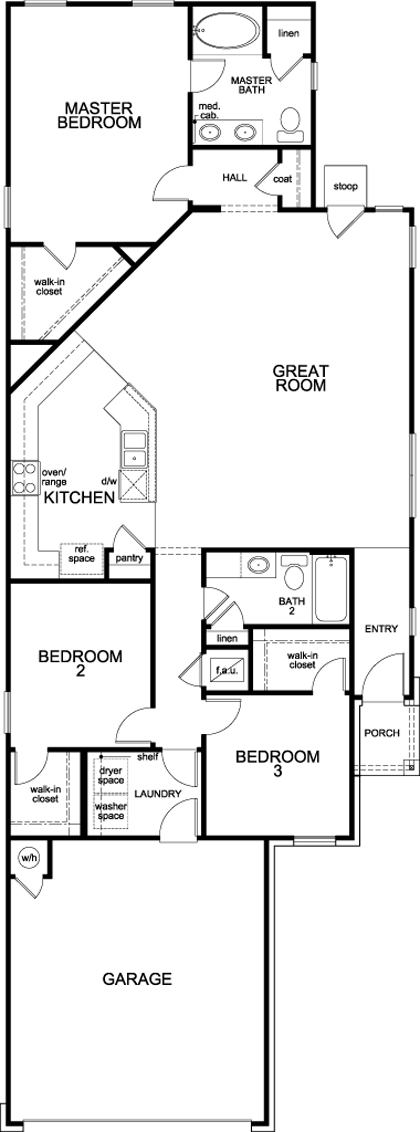 New Homes in Hutto, TX - Plan F-1585, First Floor