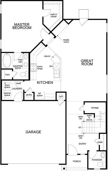 New Homes in Austin, TX - Plan 2412, First Floor