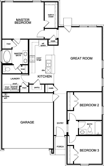 New Homes in Fort Worth, TX - Plan 1484, First Floor