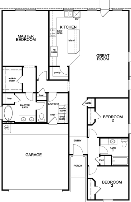 New Homes in Fort Worth, TX - Plan 1709, First Floor