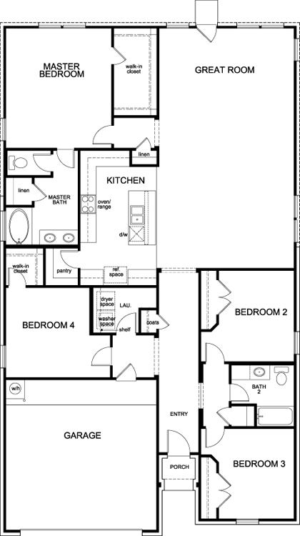 New Homes in Fort Worth, TX - Plan 2141, First Floor