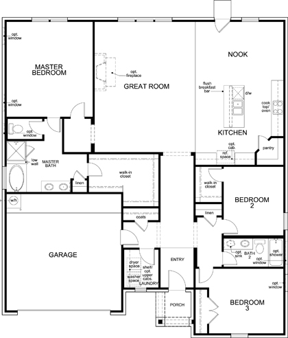 New Homes in Fort Worth, TX - Plan 2091, First Floor