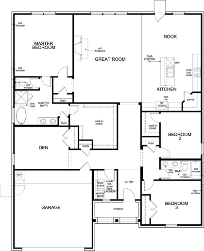 New Homes in Fort Worth, TX - Plan 2321, First Floor