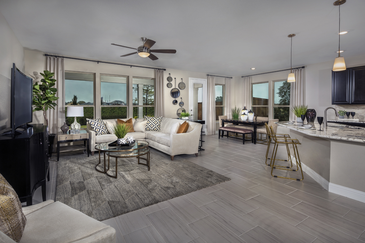 New Homes in Allen, TX - St. Andrews Park Plan 2547 Great Room as modeled at Winn Ridge