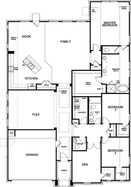 New Homes in Houston, TX - Plan 2832, First Floor