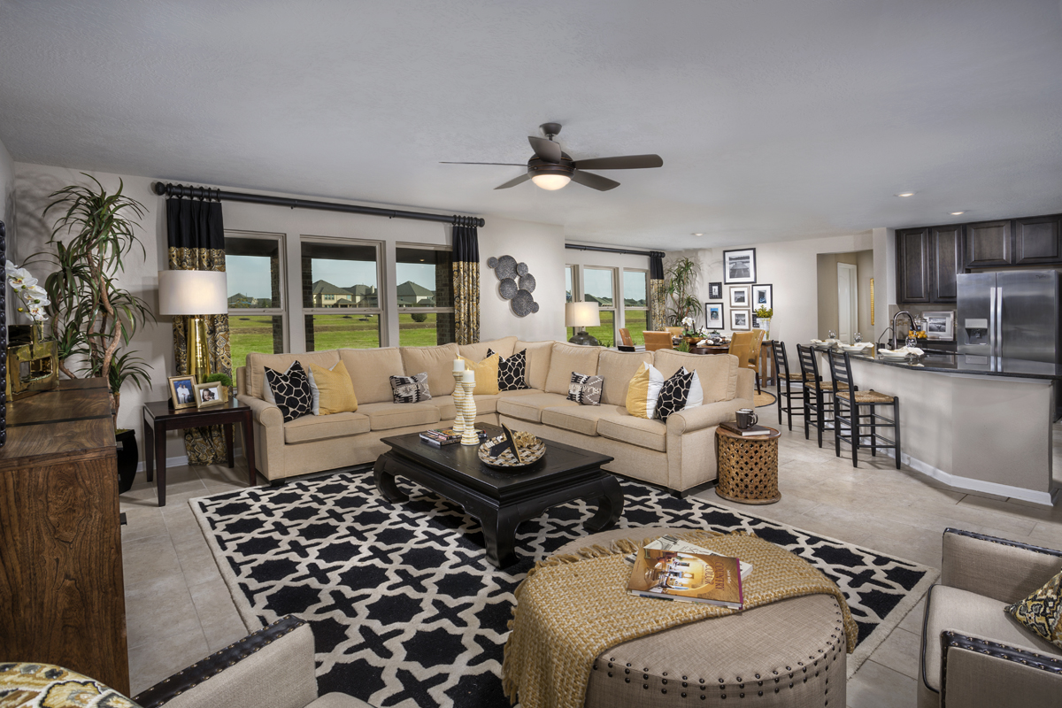 New Homes in La Marque, TX - Sunset Grove Plan 2936 Great Room as modeled at Anserra Preserve